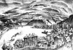 Гурам Доленджашвили. Бухта Провидения. Авторучка, чёрные чернила.  35х55,5. 1979.